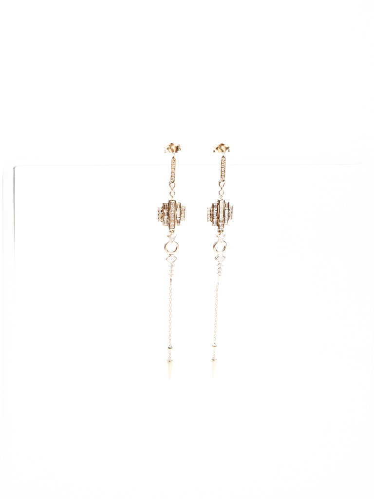 art deco baguette and square diamond earrings