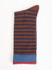 short sock - chataigne brown w/ navy stripe