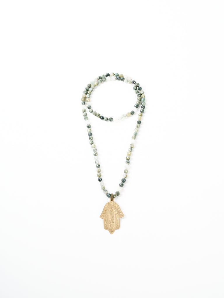 green rutilated necklace - bronze hamsa