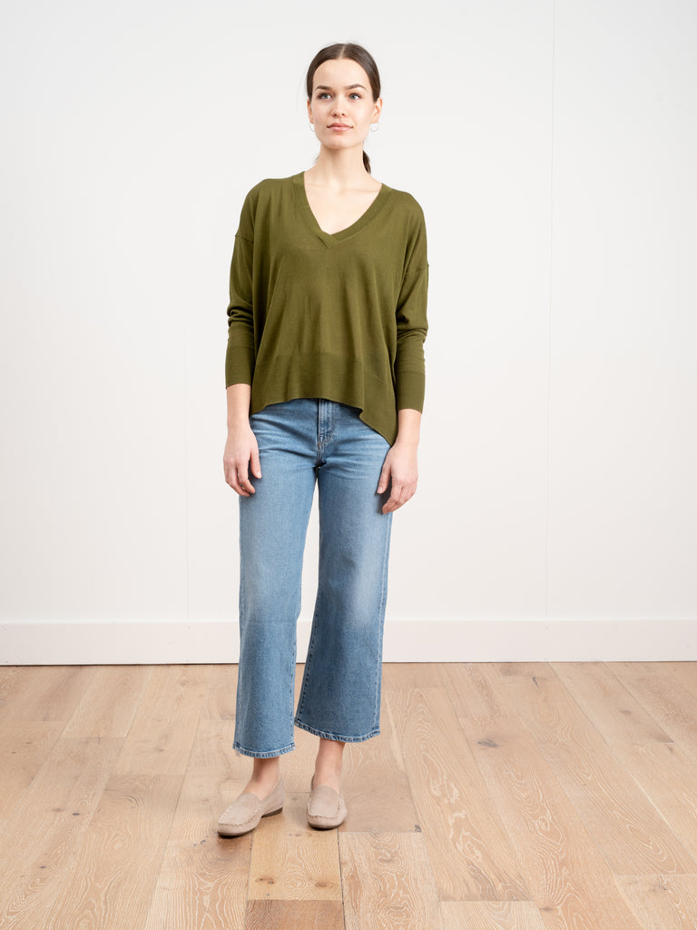 basic v-neck sweater - khaki