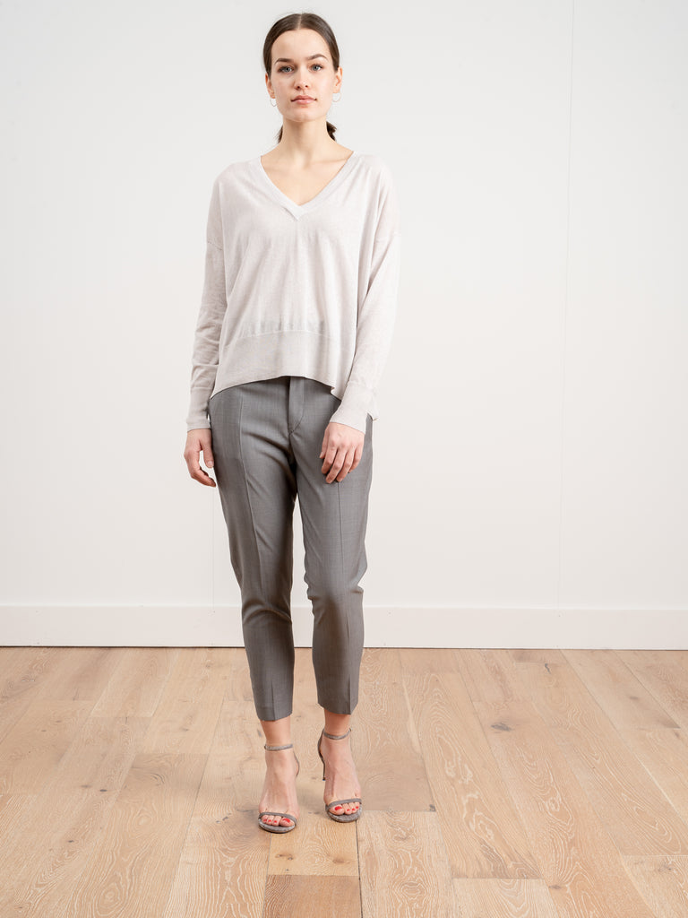 basic v-neck sweater - light grey