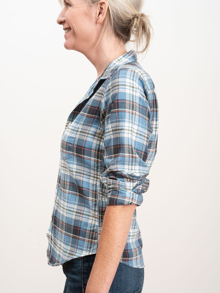 19fc274e2 Frank & Eileen Barry L S Button Down Faded Blue Plaid Twill