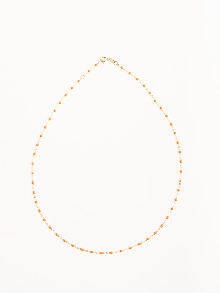 orange bead necklace - yellow gold