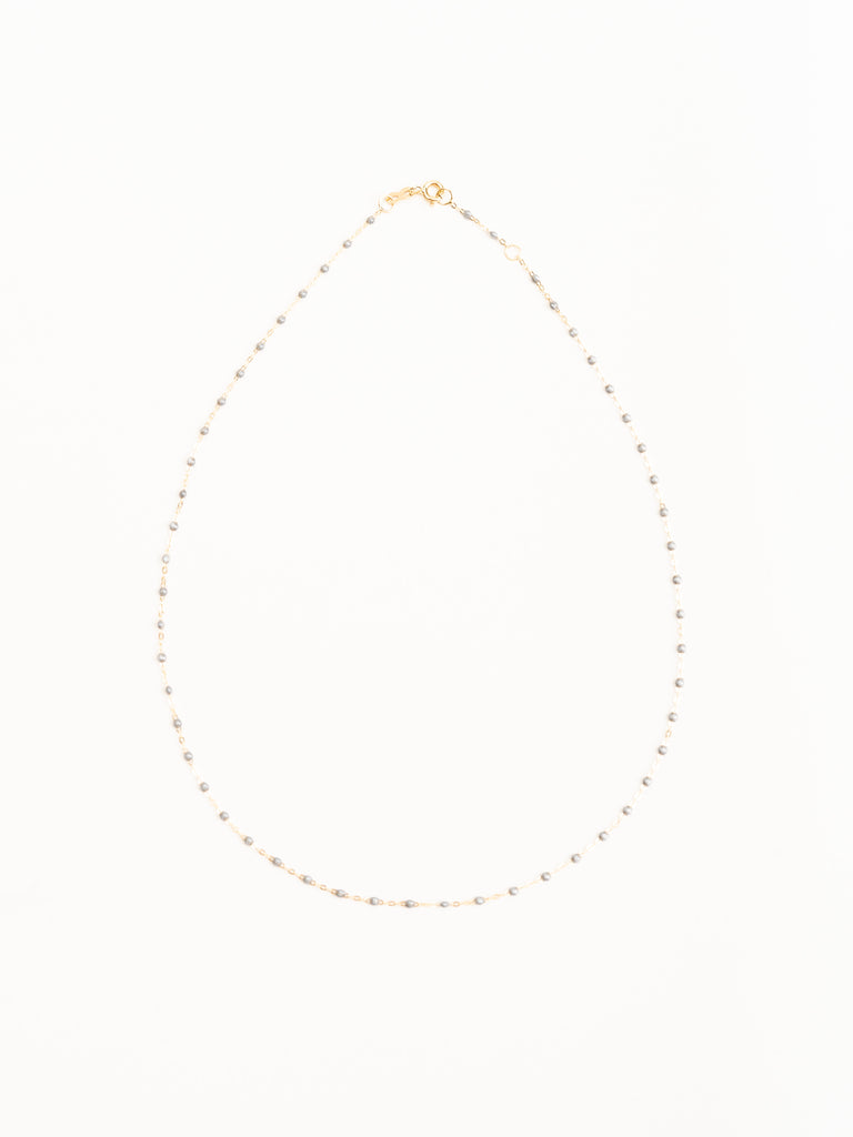 silver bead necklace - yellow gold