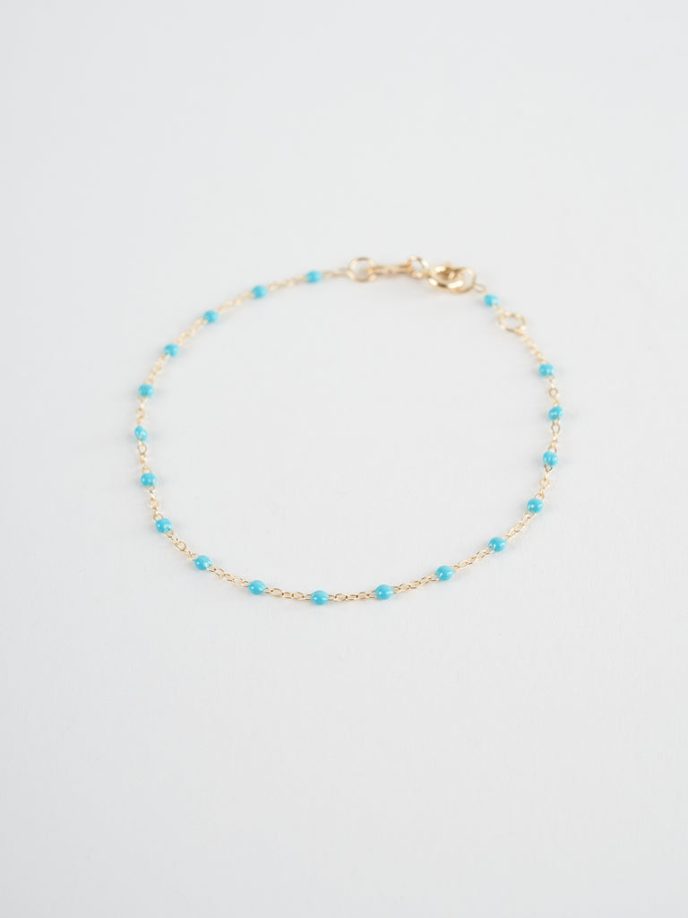 turquoise bead bracelet - yellow gold