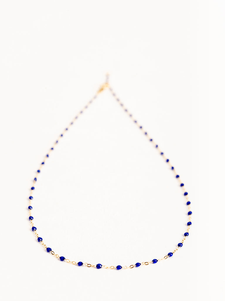lapis bead necklace - yellow gold