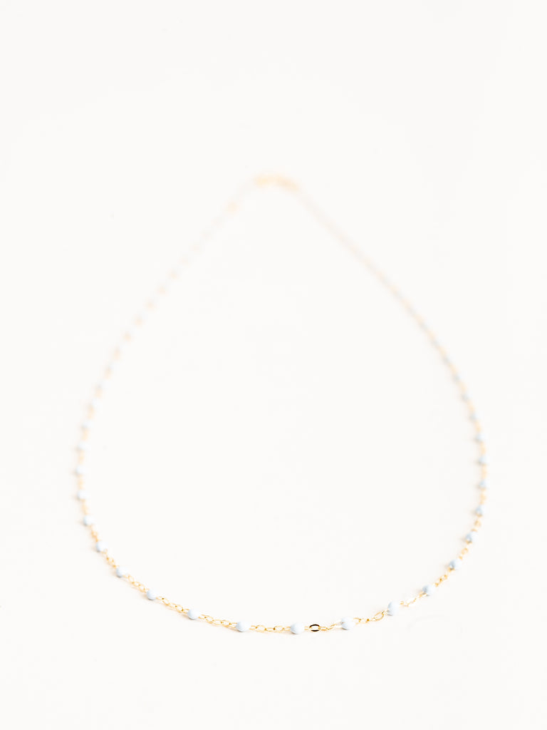 baby blue bead necklace - yellow gold