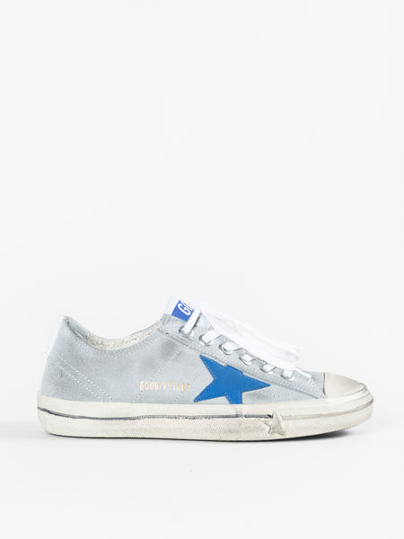Golden Goose V Star Blue Sneaker in Grey Suede
