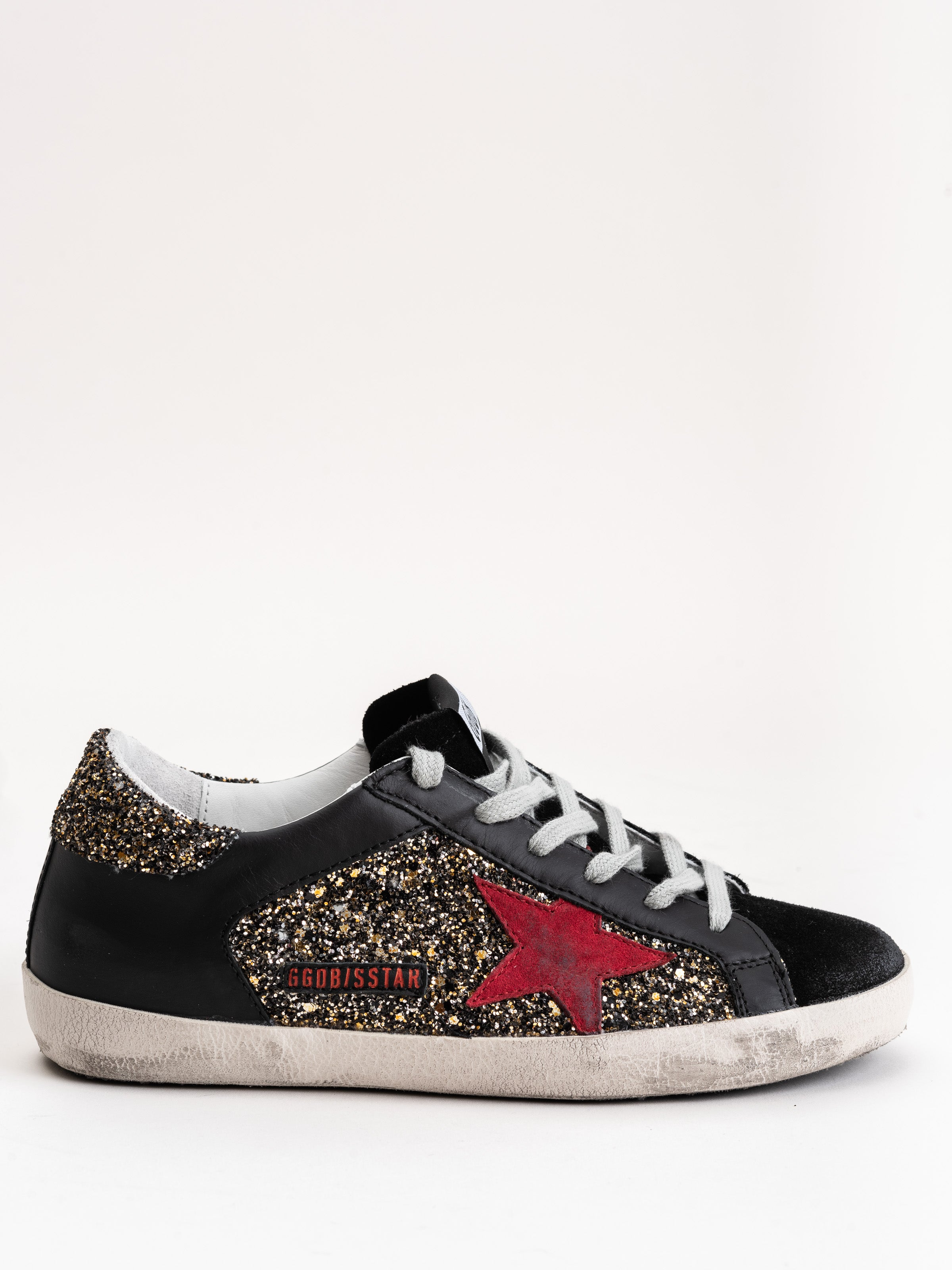 6477a1eb0190 Golden Goose Sneakers Superstar Silver Gold Glitter-Red Star