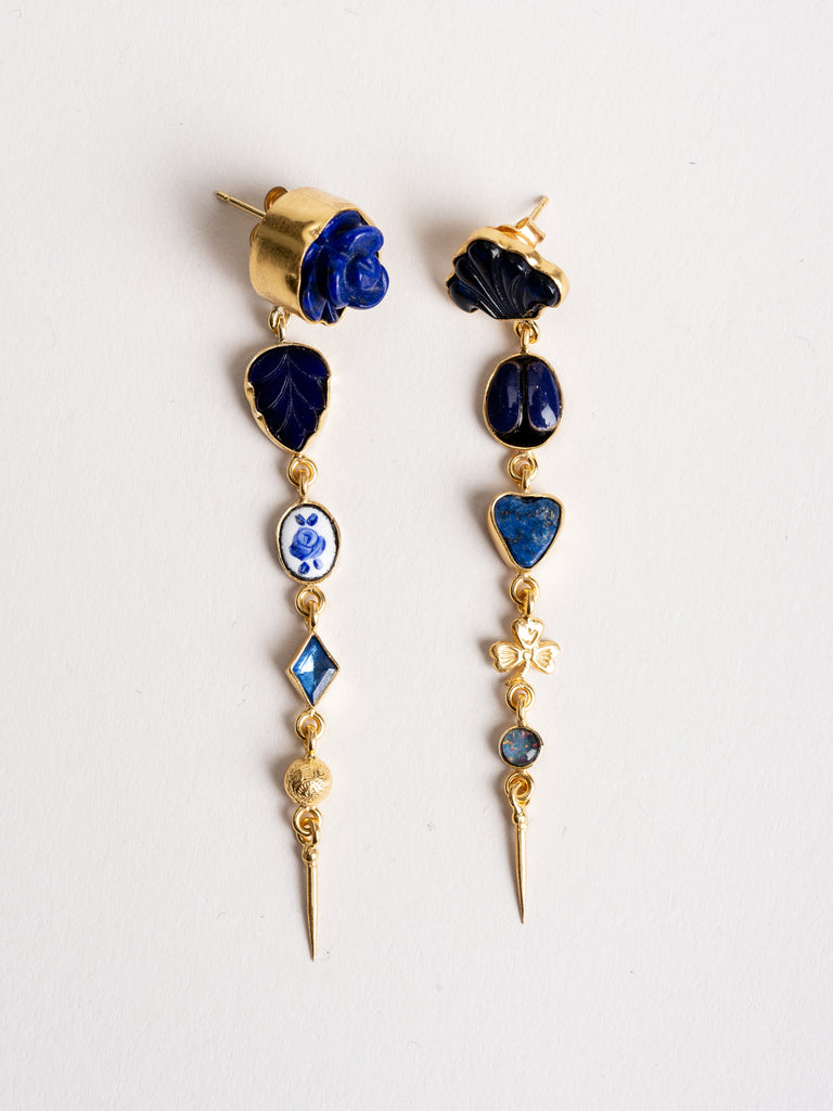 five charm with victorian drop earring