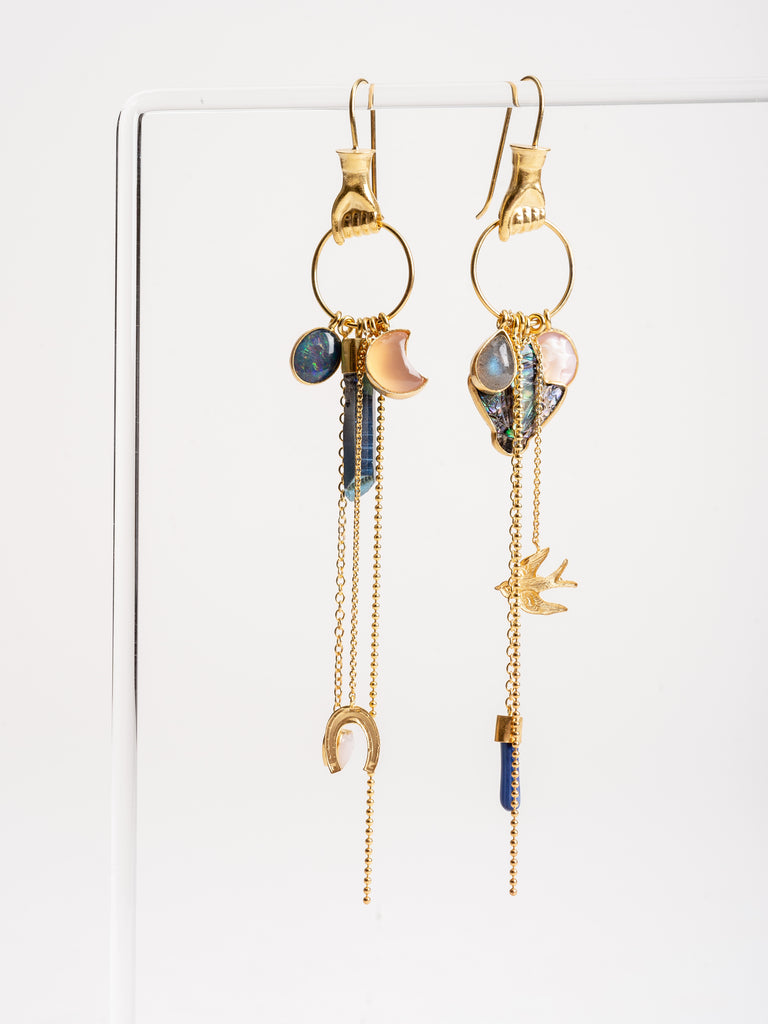 hand multi charm drop earring