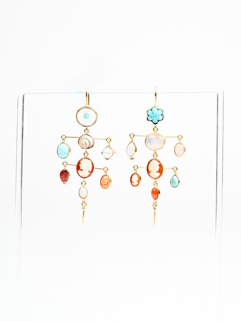 layered victorian drop earring - multi