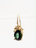 green tourmaline diamond earrings - 18k