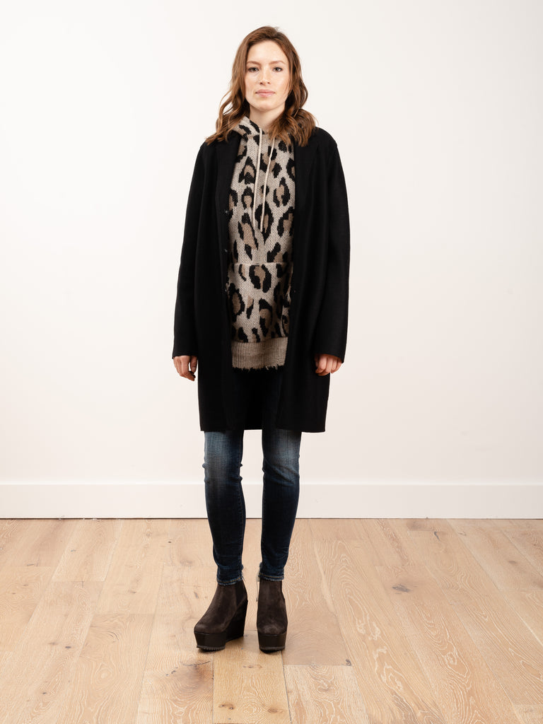 cocoon coat pressed wool - black