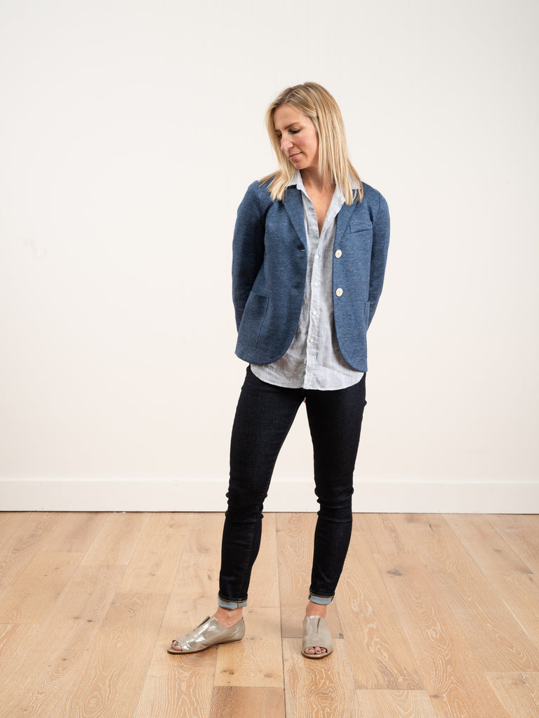 linen short boyfriend jacket - denim