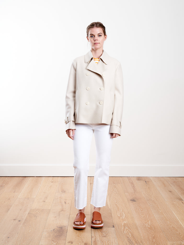 light pressed wool cropped trench - cream