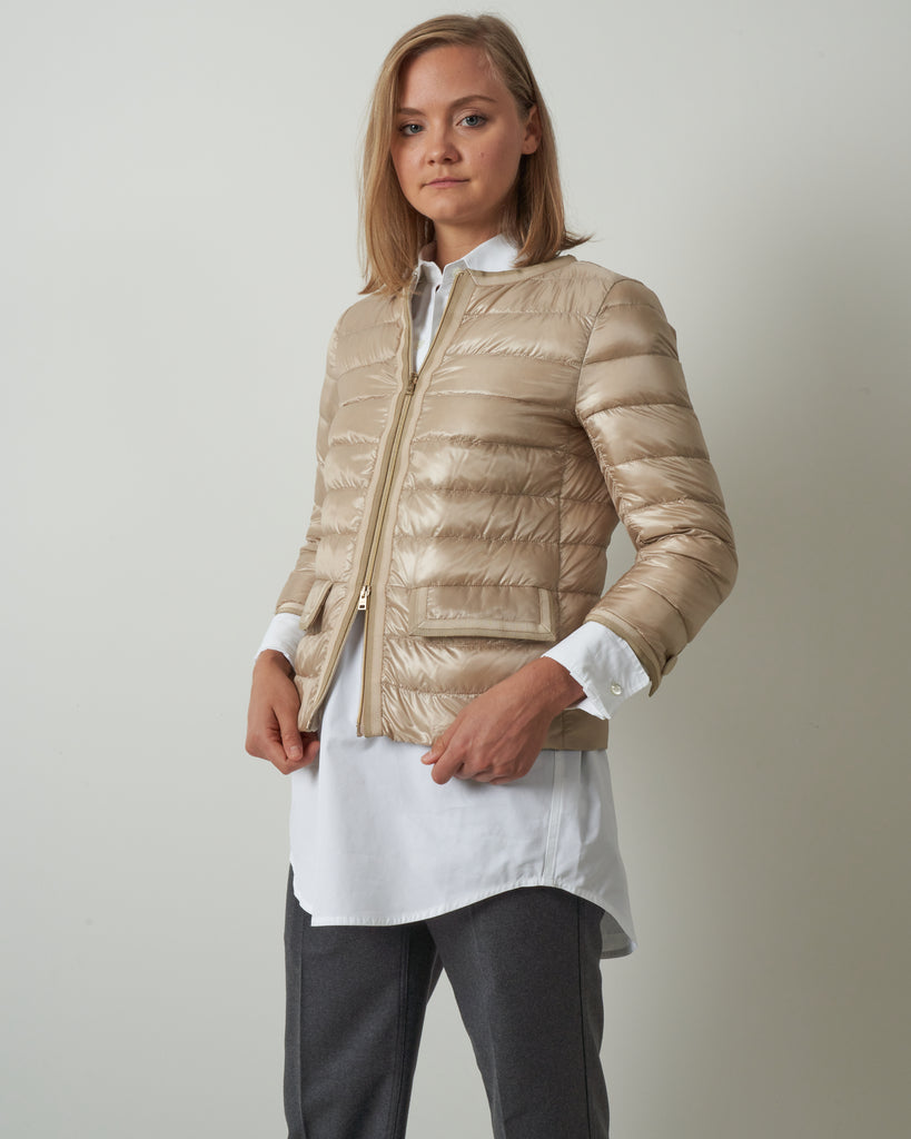grosgrain trim jacket - light sand