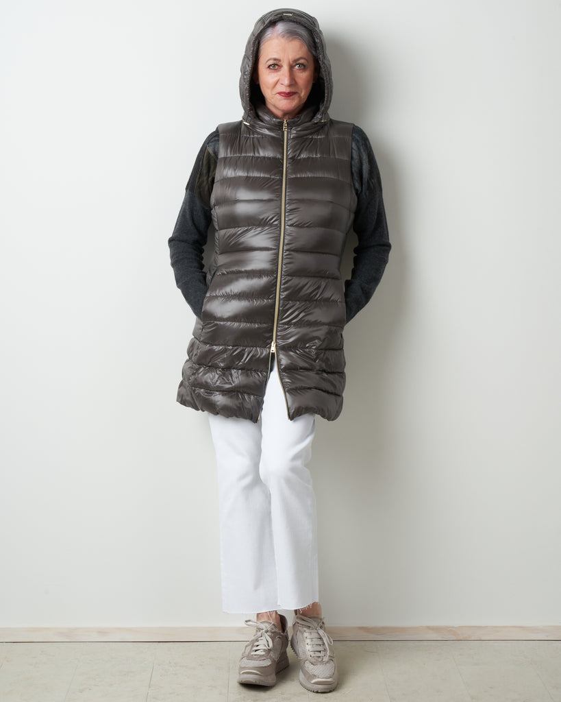 long vest with removable hood - grigio