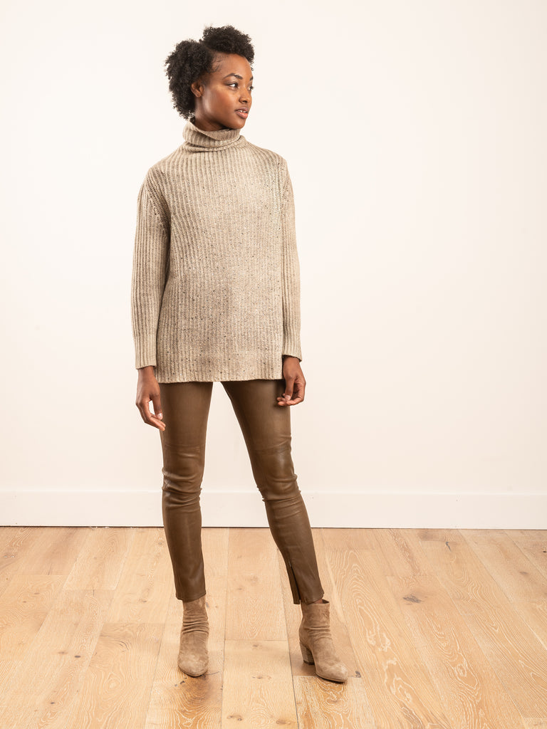 high neck stretch pullover with lamination and studs