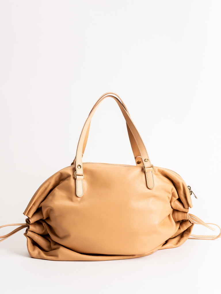 candy large zip tote - natural leather