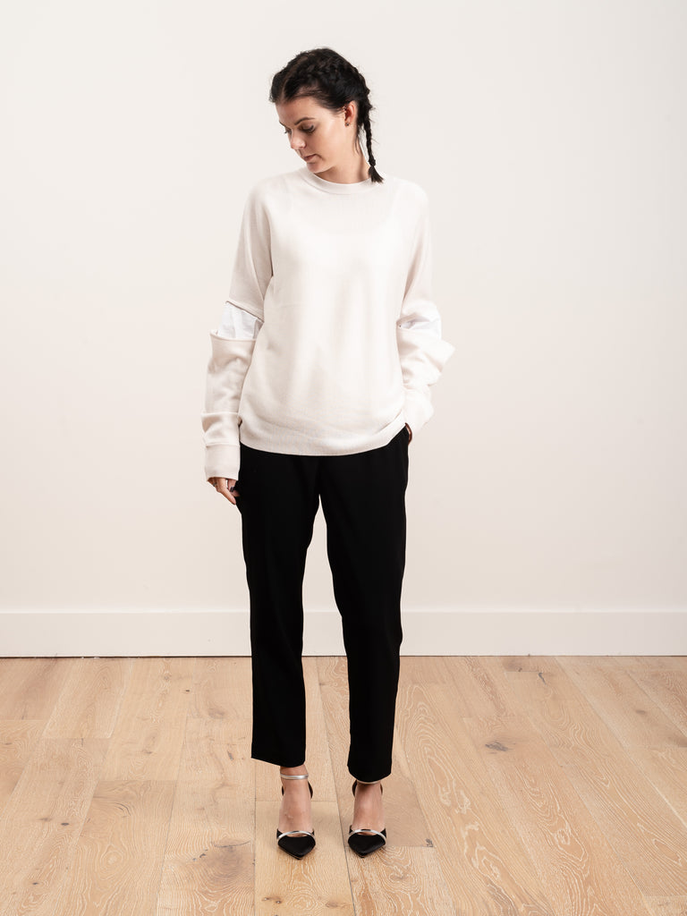 mockrib sweater slit sleeve pullover