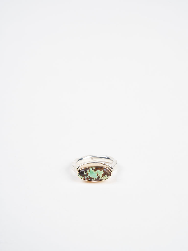 oval green turquoise ring