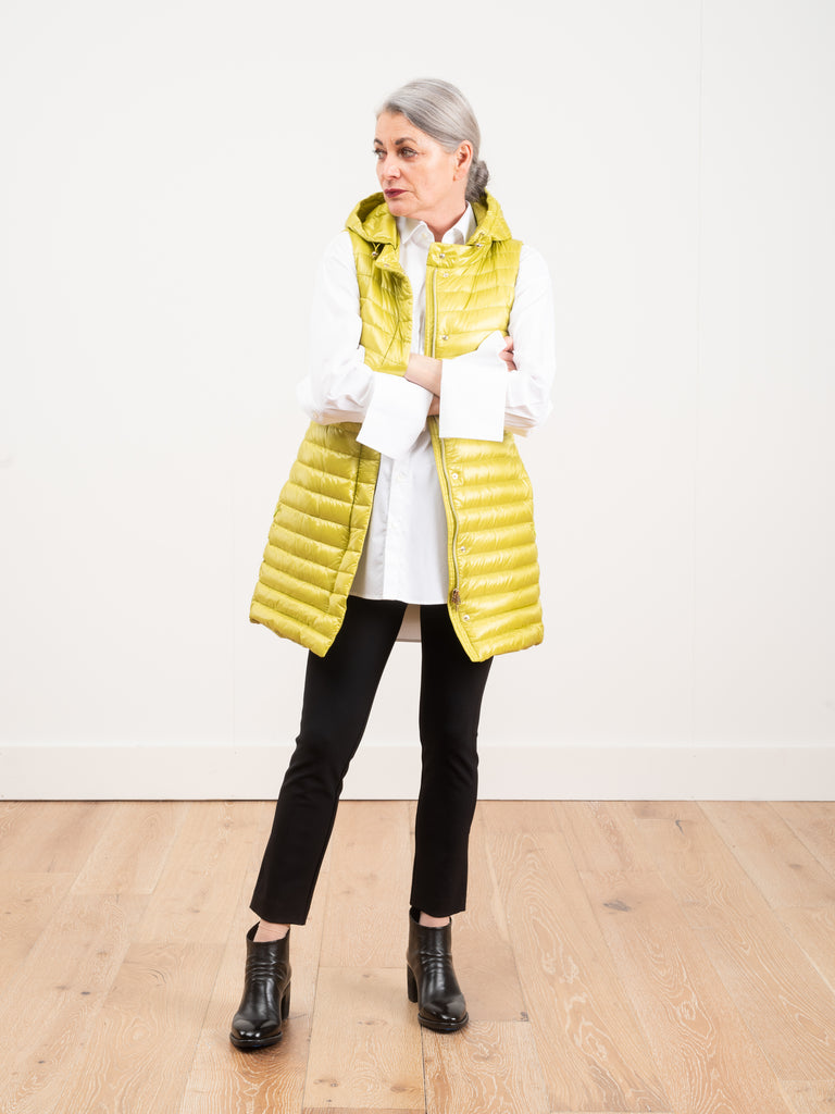 fitted vest w/ hood - chartreuse