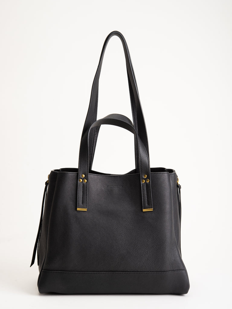medium georges tote - noir brass