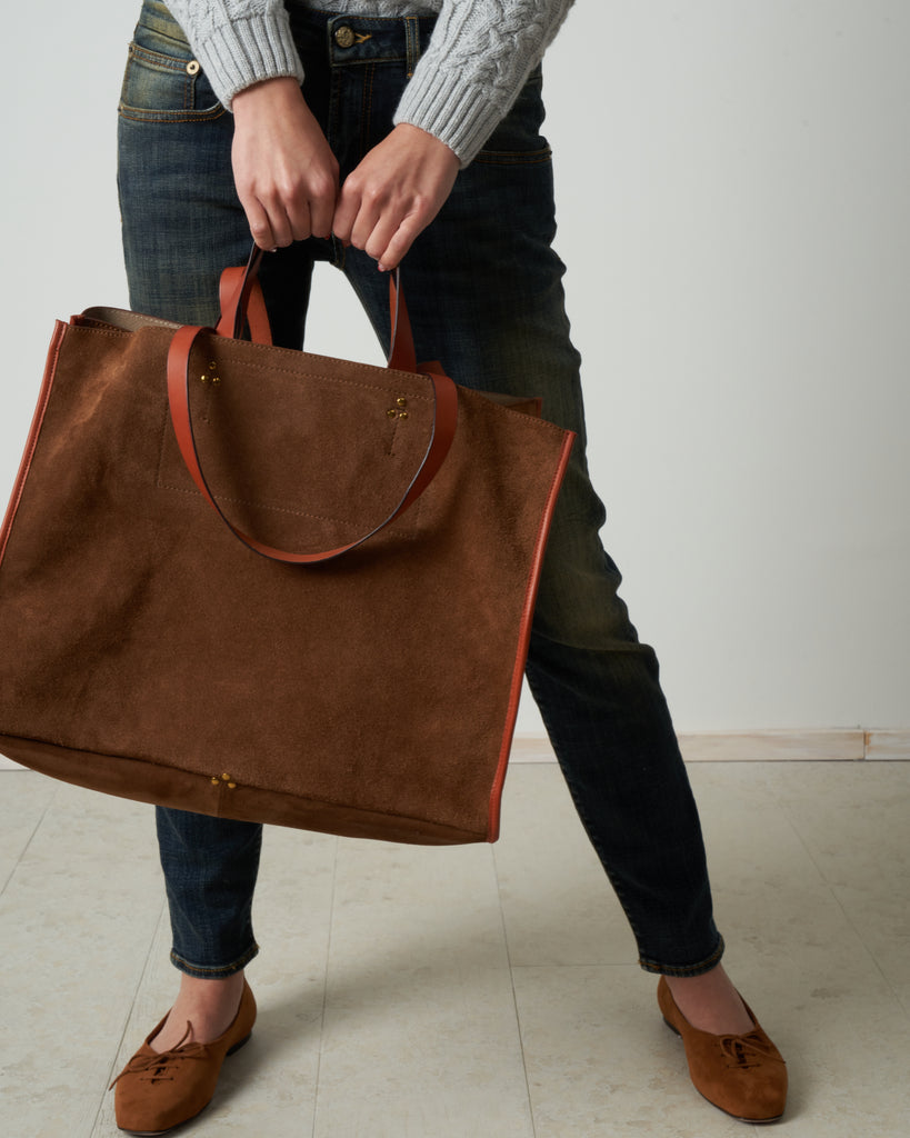 split suede tote - tabac