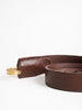 leather tapered belt - brown/brass