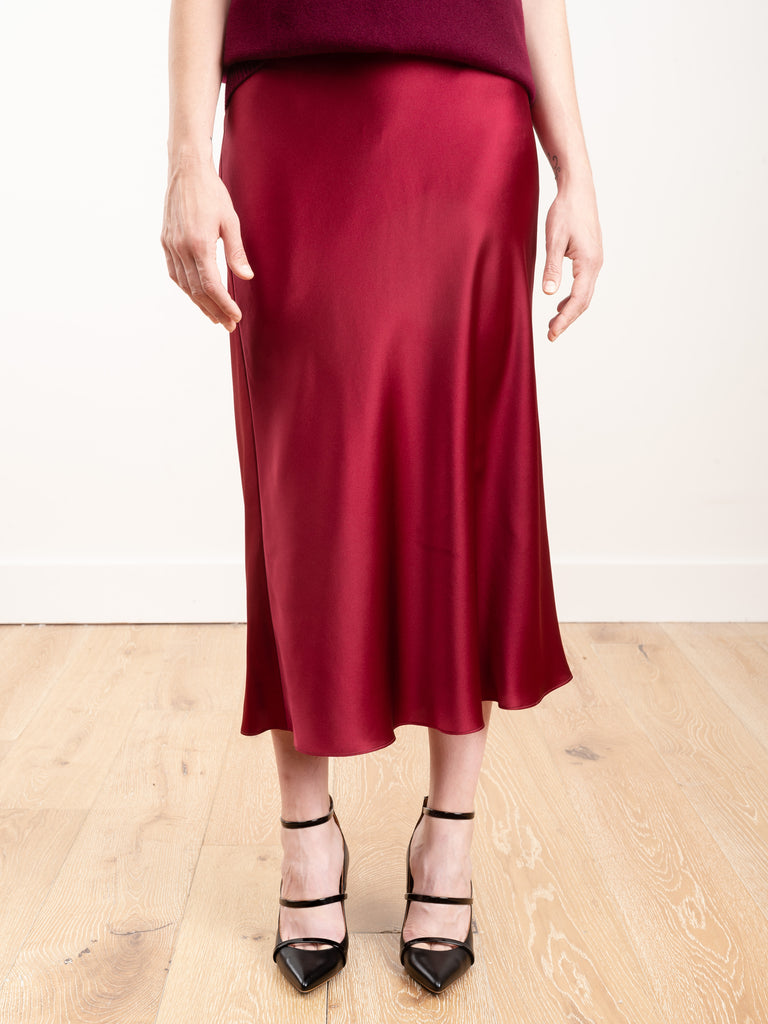 bias silk skirt - bordeaux