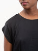 satin raglan tee - black