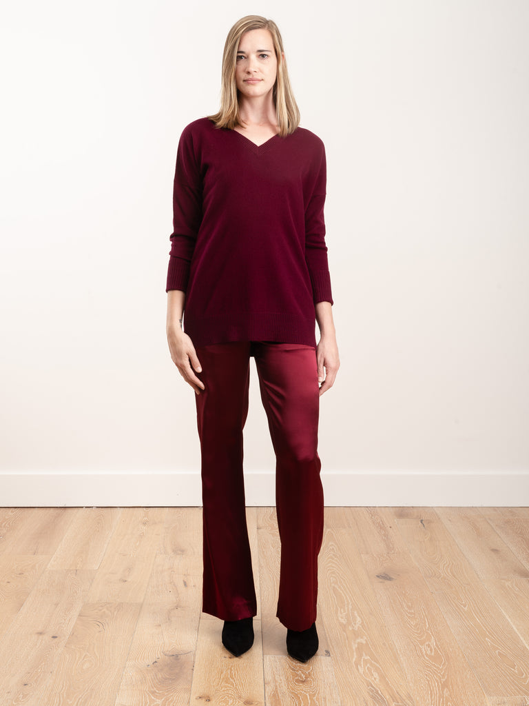 silk trouser - bordeaux