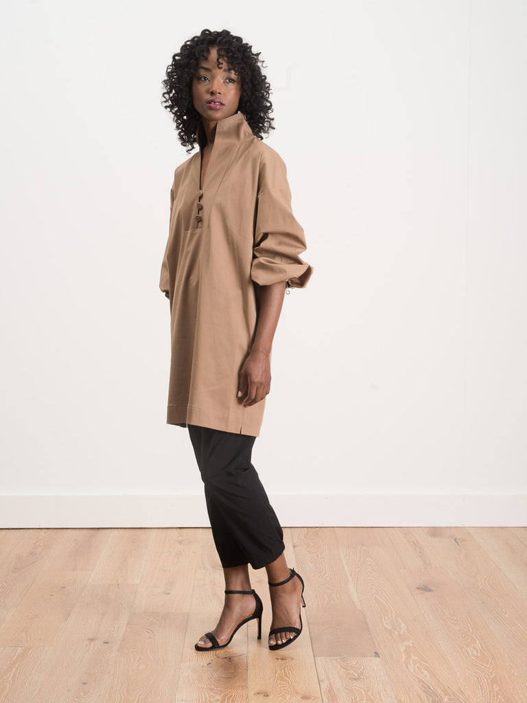 balloon sleeve mock dress - camel