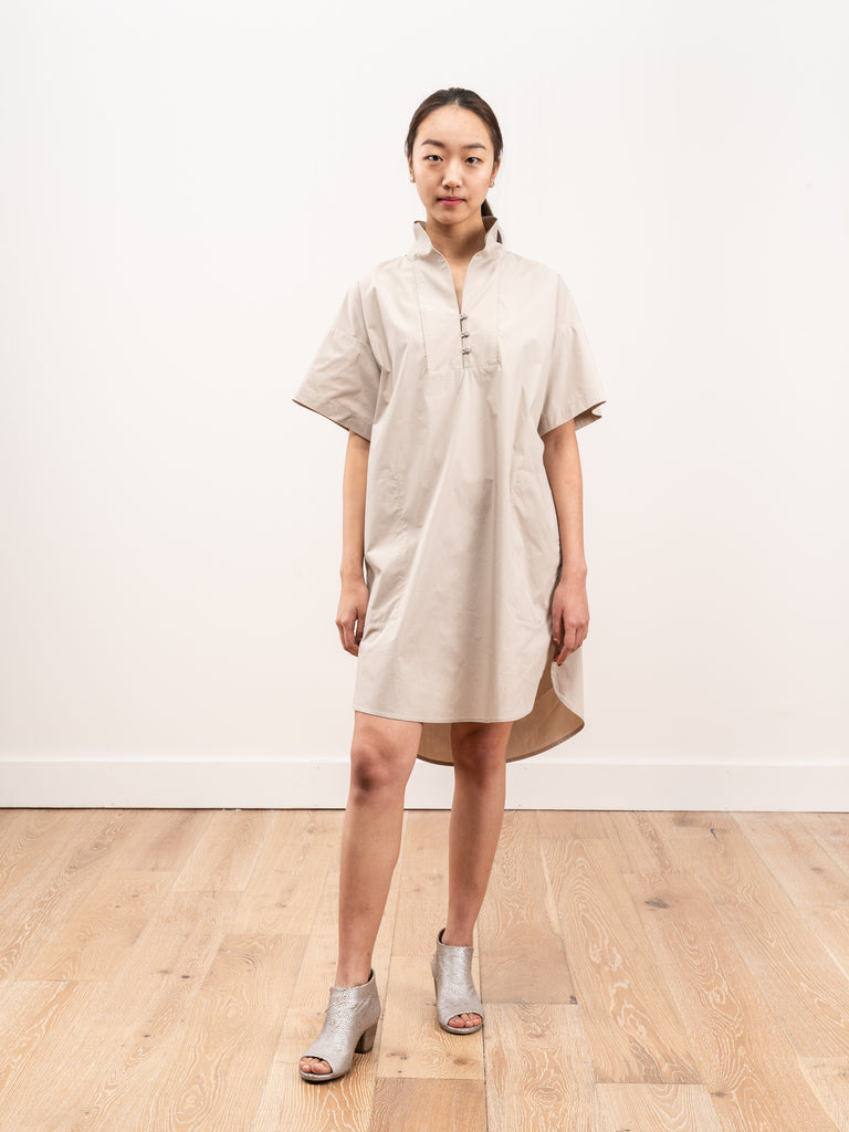 mockneck tunic dress - clay poplin