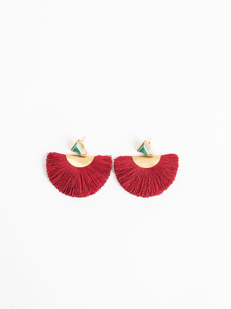 Katerina Makriyianni Malachite Mini Fan Earrings