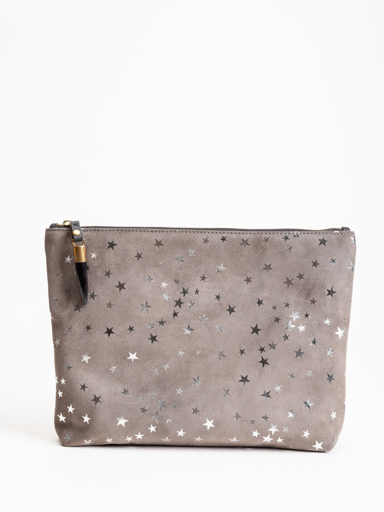 medium pouch - taupe star