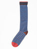 knee high socks - chataigne w/ cobalt/chocolate stripe