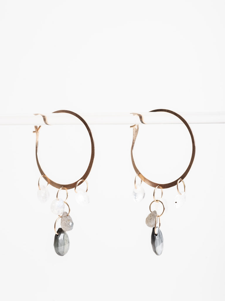 large hoop drop earring - labrodorite