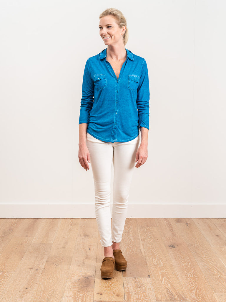 silk button front shirt- fidji blue