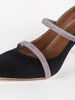 Malone Souliers Robyn Heel in Black and Grey Suede