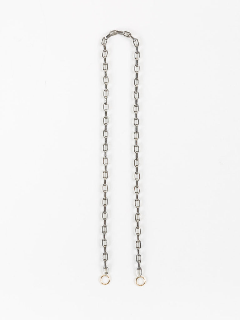 "Marla Aaron 14"" Biker Chain with Yellow Gold Hoops"