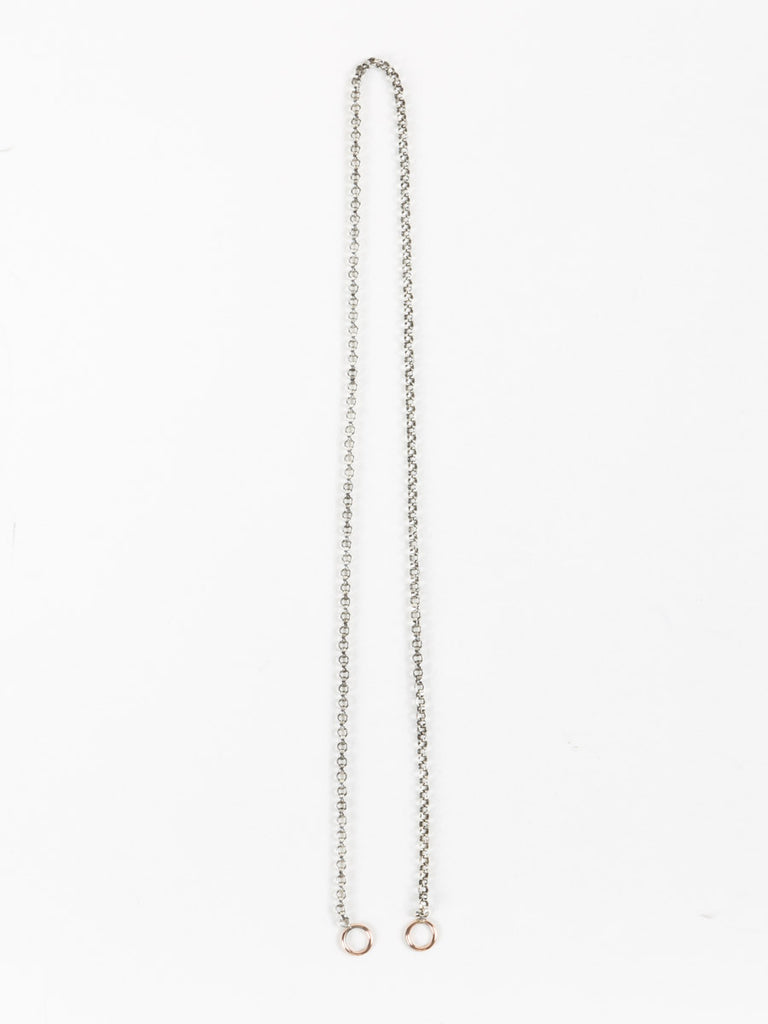 "Marla Aaron 16"" Silver Rolo Chain with Rose Gold Loops"