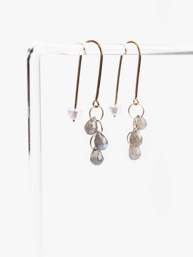 labrodorite 3 drop wire earrings