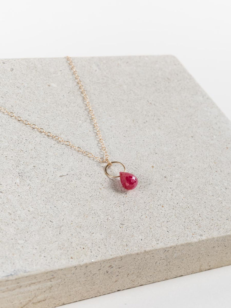 ruby single drop necklace