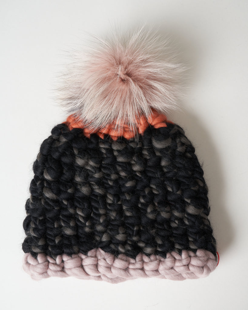 dot beanie - fawn/arctic pink