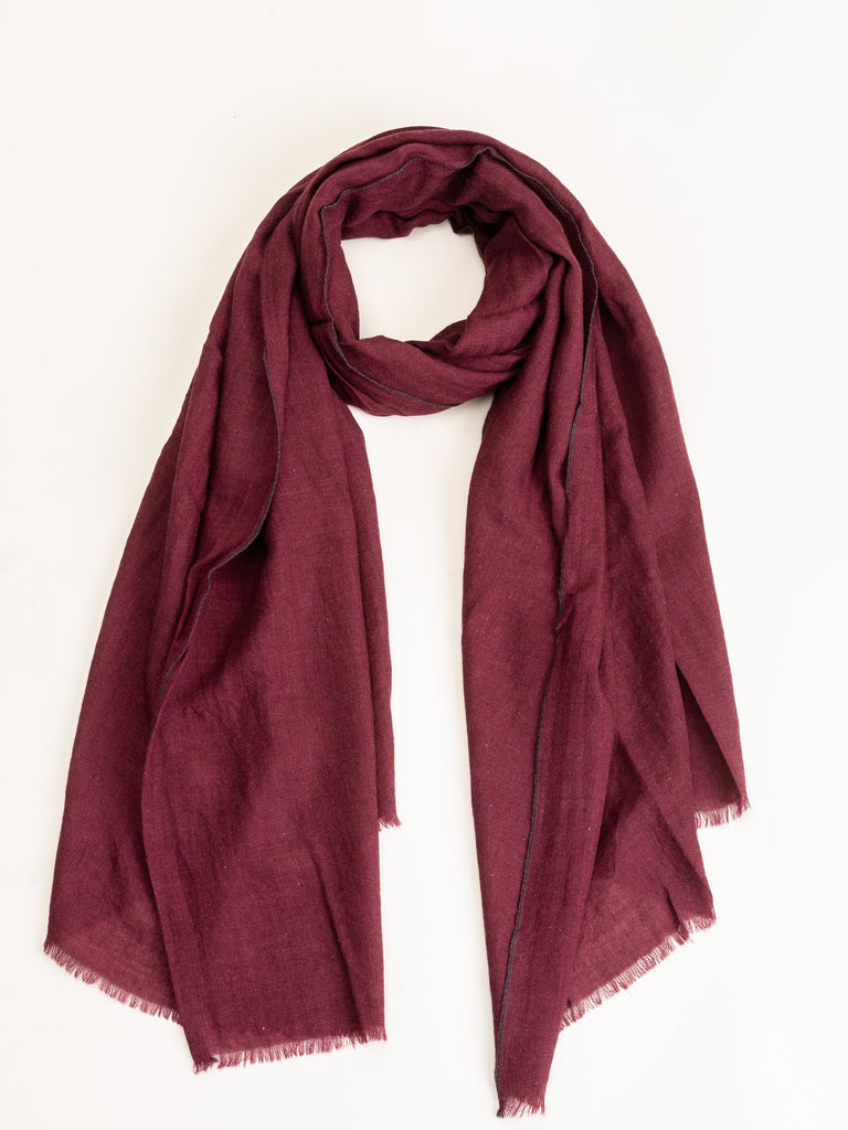 wool/silk scarf - burgundy