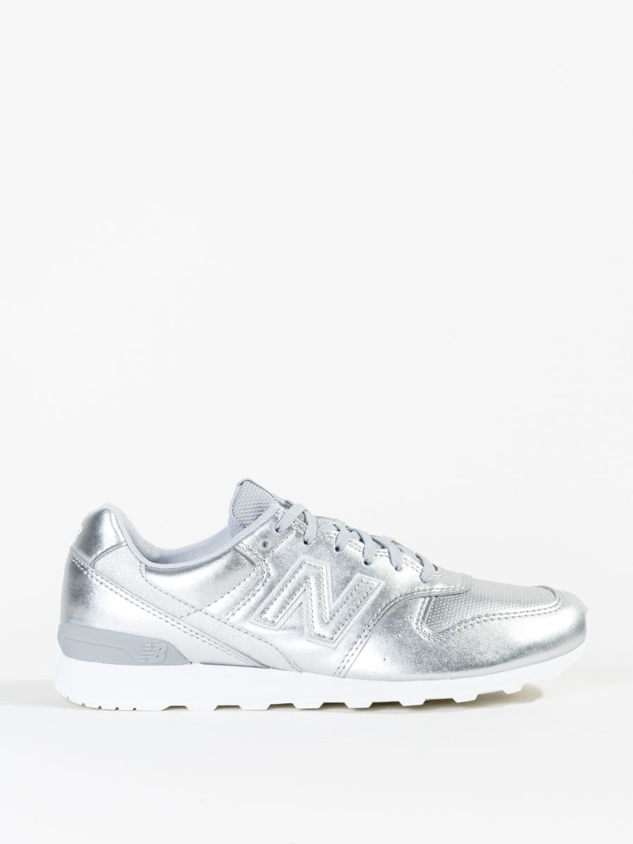 0ff46bb88a3a New Balance 696 Leather Sneaker in Metallic Silver