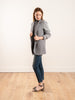knit sleeve jacket w/ standup collar - grey