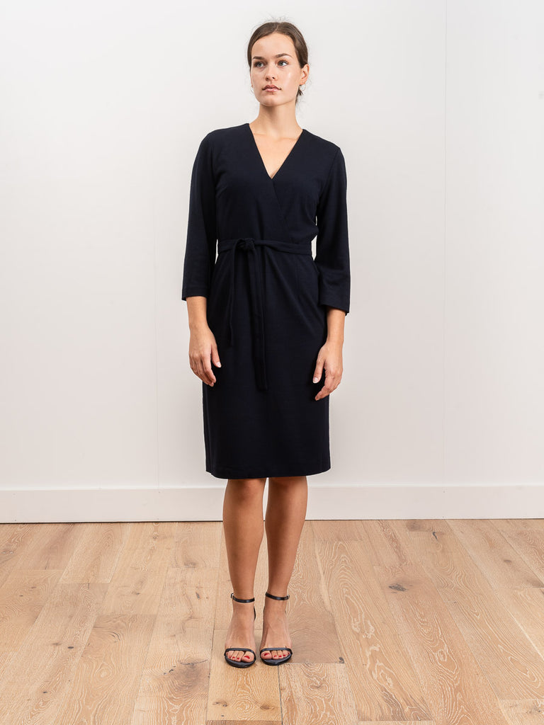mock wrap dress - navy